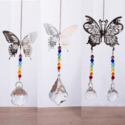 Handgjord Butterfly Suncatcher Crystal Ball Prisms Rainbow Maker N2