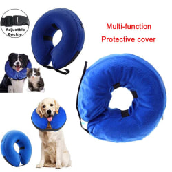 Hot Inflatable Dog Puppy Cat Pet Collar Post Surgery Lampshade C Blue Small