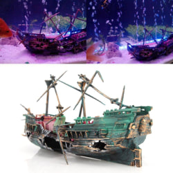 Large Aquarium Decoration Boat Aquarium Ship Air Split Shipwrec Green