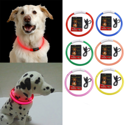 LED Dog Collar USB Rechargeable Flashing Light Up Silicone Leng S