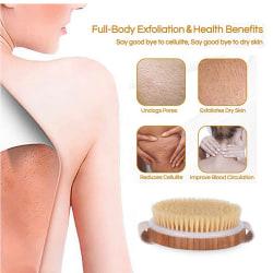 Natural Bristle Brush Long Anti-slip Handle Wooden Body Health  Horse hair