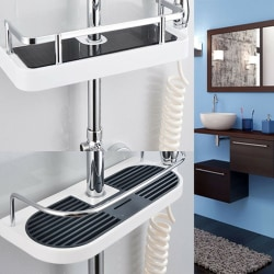 Non-drilled shower holder with shower, adjustable height of soap A