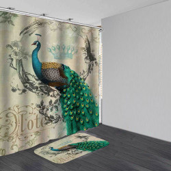 Peacock Waterproof Bathroom Shower Curtain Bath mats Multiple s 180*200 curtain