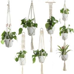 Plant Pot Holder Cotton Macrame Hanger Gardenpot Braided Basket F