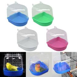 Plastic Bird Water Bath Box Bathtub Parrot For Parakeet Hanging Blue