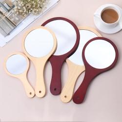 Round Wood Vintage Hand Mirror Makeup Vanity Mirror Cosmetic Ma