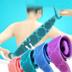 Silicone Body Belt Wash Bath Brush Belt Shower Long Silicone Exf Blue