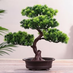 Simulation Lifelike DIY Simple Potted Plant Ornament Pine Tree  Green B