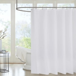 Solid Colour Waterproof Bath Shower Curtain With Hooks Bathtub  White