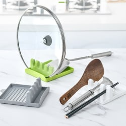 Spatula Ladle Shelf Spoon Pot Lid Holder Rack Cover Pad Kitchen Gray