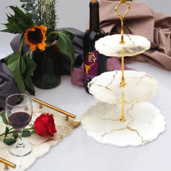 Three-layer round Fruit Dish Coaster Resin Casting Silicone Fru B