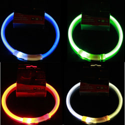 USB LED Rechargeable Pet Dog Collar Flashing Light Up Safety Be Orange 50CM