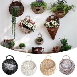 Wall Hanging Planter Plant Flower Pot Handmade Wicker Rattan Ba Gray L