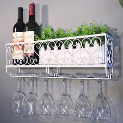Wall Mounted Iron Wine Rack Bottle Champagne Glass Holder Shelv Black 50*10*17cm