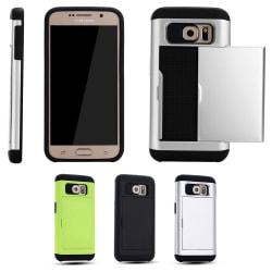 Mjukt Skal med Korthållare - Samsung Galaxy S6 Grön