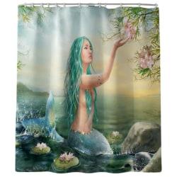 Beauty Mermaid Printed Bathroom Mat Set And Shower Curtain