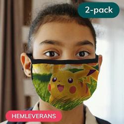 2-pack Munskydd, Tvättbar Skyddsmask för Barn - Pokemon
