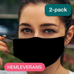 2-pack Munskydd, Tvättbar Skyddsmask med Filter - Black