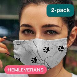 2-pack Munskydd, Tvättbar Skyddsmask med Filter - Marmor Tassar