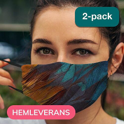 2-pack Munskydd, Tvättbar Skyddsmask med Filter - Mönster