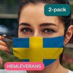 2-pack Munskydd, Tvättbar Skyddsmask med Filter - Sweden/Sverige