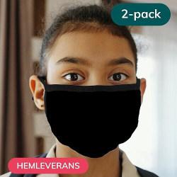 2-pack Munskydd, Tvättbar Skyddsmask för Barn - Black