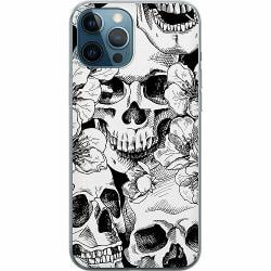 Apple iPhone 12 Pro Mjukt skal - White Skulls & Flowers