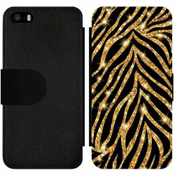 Apple iPhone 5 / 5s / SE Wallet Slim Case Gold & Glitter