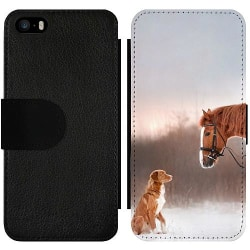 Apple iPhone 5 / 5s / SE Wallet Slim Case Häst & Hund