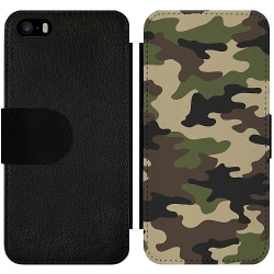 Apple iPhone 5 / 5s / SE Wallet Slim Case Woodland Camo