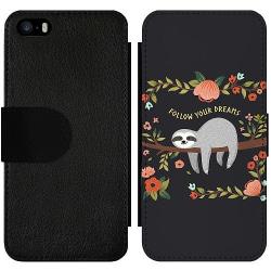 Apple iPhone 5 / 5s / SE Wallet Slim Case Sloth of wisdom