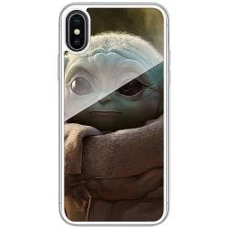 Apple iPhone X / XS Transparent Mobilskal med Glas Baby Yoda
