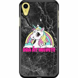 Apple iPhone XR Hard Case (Svart) Unicorn - Dra Åt @!#