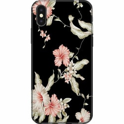 Apple iPhone XS Max Mjukt skal - Floral Pattern Black