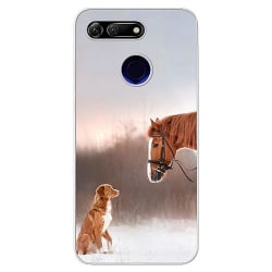 Huawei Honor View 20 Soft Case (Frostad) Häst & Hund