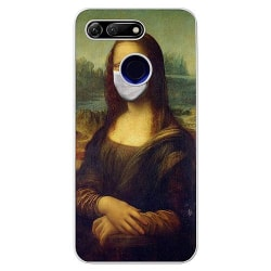 Huawei Honor View 20 Transparent Mobilskal Mona Lisa Face Mask