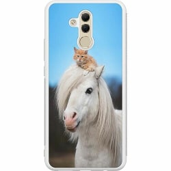 Huawei Mate 20 Lite Soft Case (Vit) Horse with CatHat