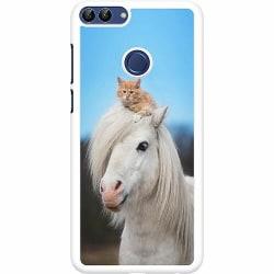 Huawei P Smart (2018) Hard Case (Vit) Häst & Katt