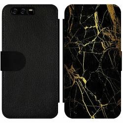 Huawei P10 Wallet Slim Case Marble Black&Gold