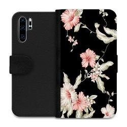 Huawei P30 Pro Wallet Case Floral Pattern Black