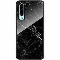 Huawei P30 Svart Mobilskal med Glas black marble