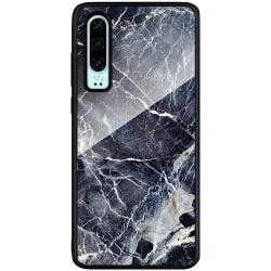 Huawei P30 Svart Mobilskal med Glas Marbled