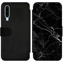Huawei P30 Wallet Slim Case black marble