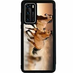 Huawei P40 Soft Case (Svart) Hästar