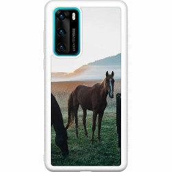 Huawei P40 Soft Case (Vit) Häst / Horse