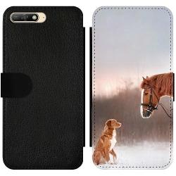 Huawei Y6 (2018) Wallet Slim Case Häst & Hund