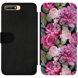 Huawei Y6 (2018) Wallet Slim Case Purple Florals