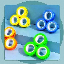 Magnetic Rings Sensorisk Fidget Spel - Glow in Dark Gul