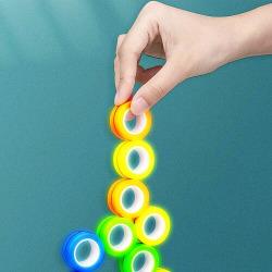 Magnetic Rings Sensorisk Fidget Spel - Glow in Dark Orange