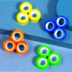 Magnetic Rings Sensorisk Fidget Spel - Glow in Dark Blå